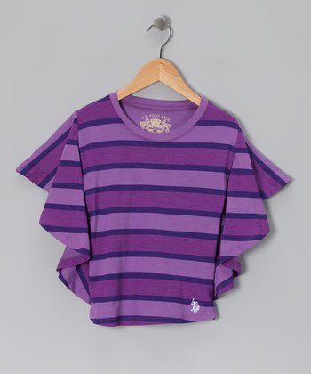 Purple Stripe Dolman Top - Girls