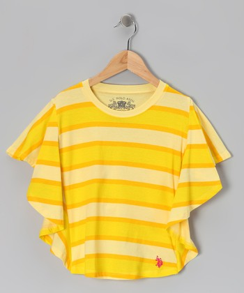 Yellow Stripe Dolman Top - Girls