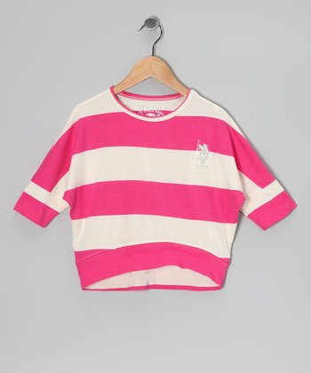 Cream & Pink Stripe Top
