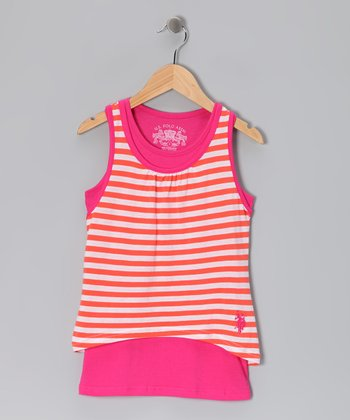 Pink & Ferris Orange Stripe Layered Tank - Girls