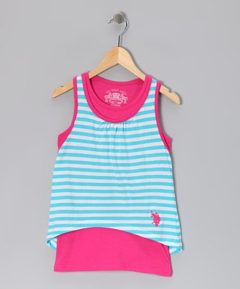 Pink & Turquoise Stripe Layered Tank - Girls