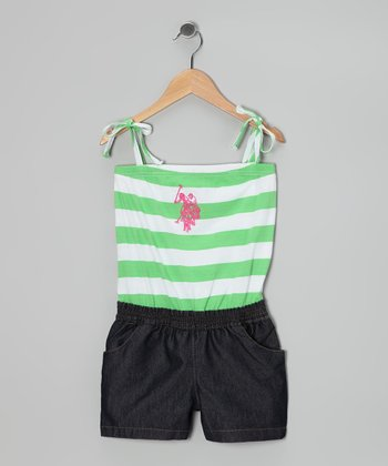Lime Stripe Layered Romper - Girls