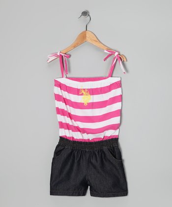 Pink Stripe Layered Romper - Girls
