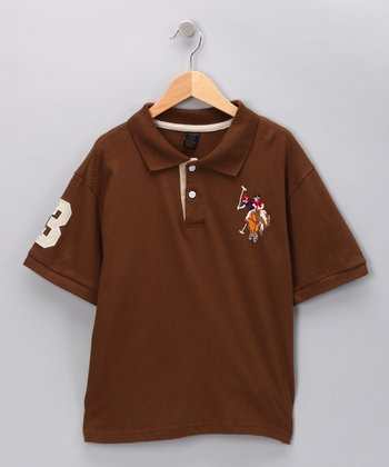 Brown '3' Polo - Boys