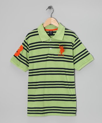 Mint Stripe Polo - Boys