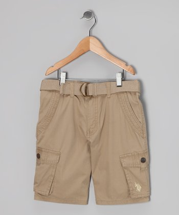 Dark Khaki Cargo Shorts & Belt - Boys