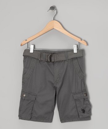 Dark Gray Cargo Shorts & Belt - Boys