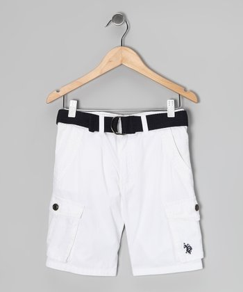 White Cargo Shorts & Belt - Boys