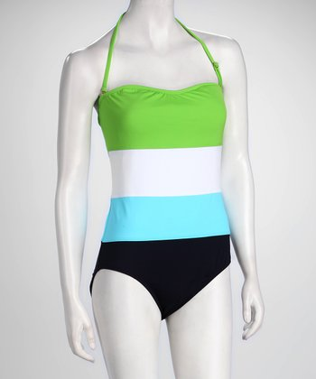 Anne Cole Green Color Block Strapless One-Piece