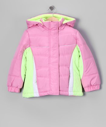 Pink & Lime Puffer Coat - Girls