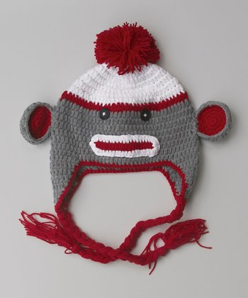 Red Sock Monkey Earflap Beanie