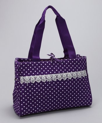 Purple & White Polka Dot Diaper Bag