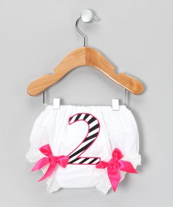 White & Hot Pink Zebra Stripe '2' Bloomers - Infant