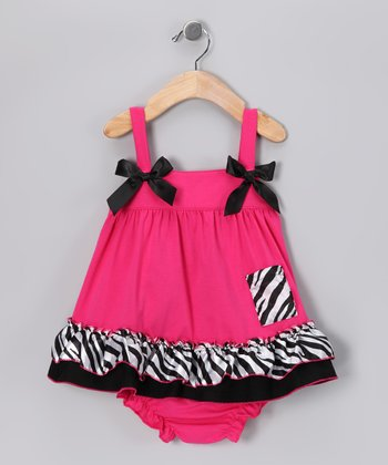 Pink & Black Zebra Pocket Swing Tunic & Diaper Cover - Infant