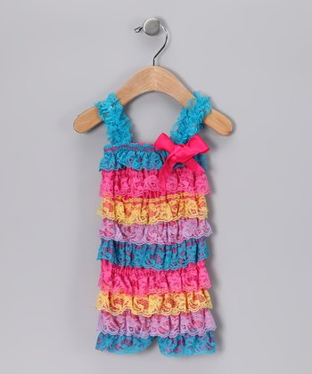 Blue Rainbow Lace Ruffle Romper - Infant
