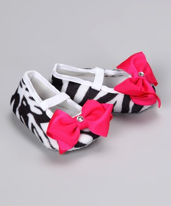Hot Pink Zebra Crystal Bow Booties