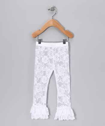White Lace Ruffle Leggings - Infant & Girls