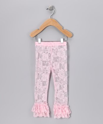 Pink Lace Ruffle Leggings - Infant
