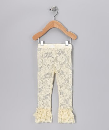 Ivory Lace Ruffle Leggings - Infant, Toddler & Girls