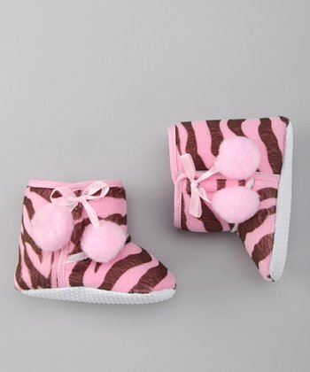 Pink & Brown Zebra Booties
