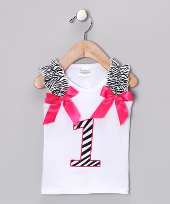 White & Pink Zebra '1' Tank - Infant