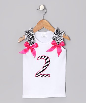 White & Pink '2' Birthday Tank - Toddler