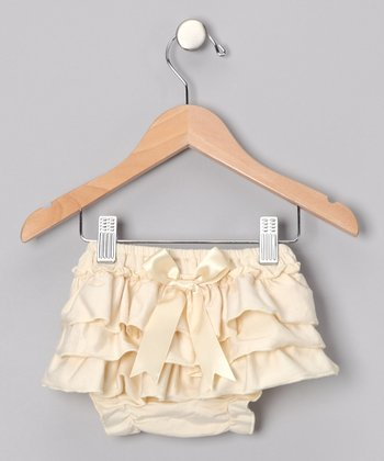 Ivory Ruffle Diaper Cover - Infant