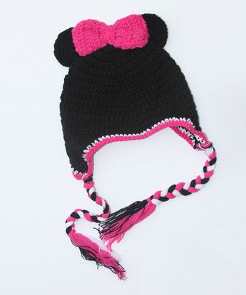 Black Mouse Bow Earflap Beanie