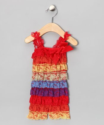 Red Rainbow Lace Ruffle Romper - Infant, Toddler & Girls