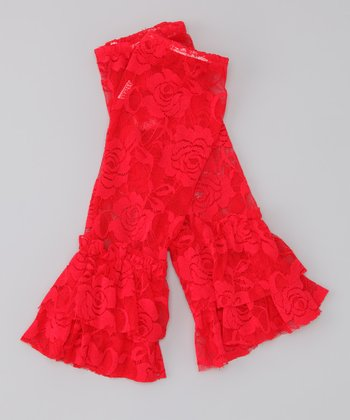 Red Lace Ruffle Leg Warmers