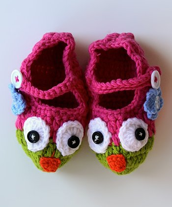Hot Pink & Lime Owl Booties