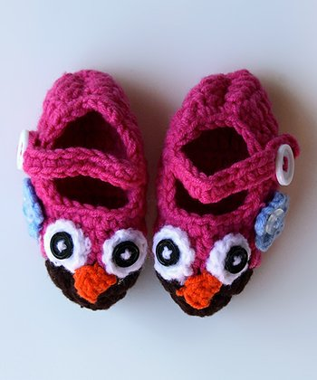 Hot Pink & Brown Owl Booties