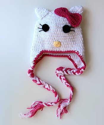 White & Hot Pink Bow Kitty Earflap Beanie