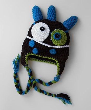 Brown Horn Monster Earflap Beanie