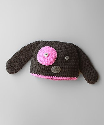 Brown & Pink Puppy Beanie