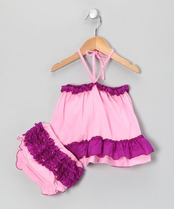 Pink & Purple Ruffle Swing Tunic & Diaper Cover - Infant
