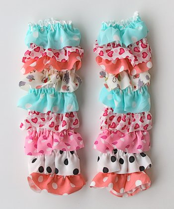 White & Light Blue Heart Leg Warmers