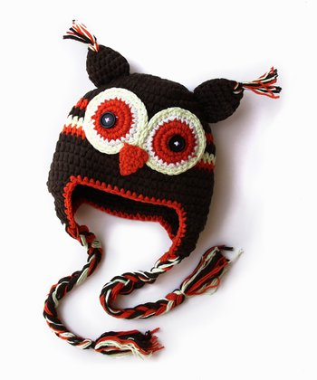 Brown & Orange Owl Earflap Beanie