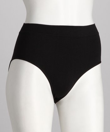 Black Ribbed Seamless Briefs