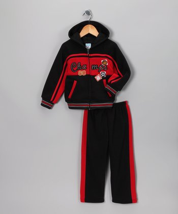 Black 'Champs' Zip-Up Hoodie & Pants - Toddler