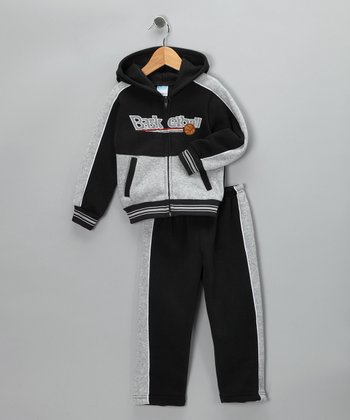 Black 'Basketball' Zip-Up Hoodie & Pants - Boys