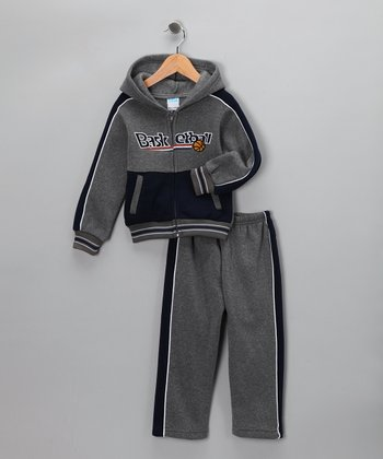 Gray Stripe 'Basketball' Zip-Up Hoodie & Pants - Boys