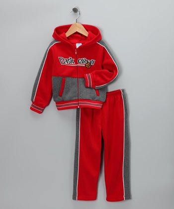 Red 'Basketball' Zip-Up Hoodie & Pants - Toddler & Boys