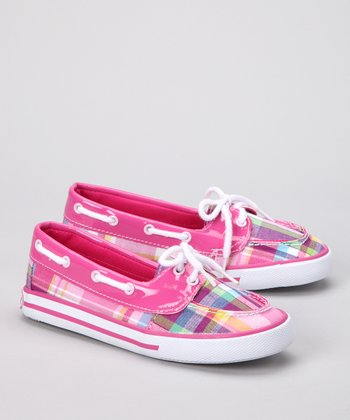 Pink Plaid Shorey Boat Shoe
