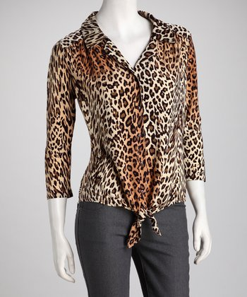 Brown Leopard Button-Up Tunic