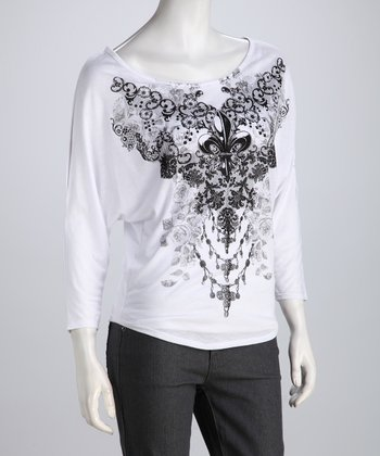 White Fleur-de-Lis Tattoo Dolman Tee - Women & Plus