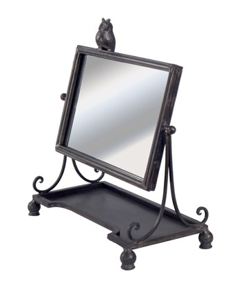 Black Owl Table Mirror