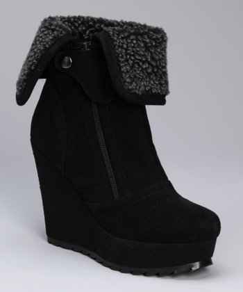 Black Auxiliary Suede Wedge Boot