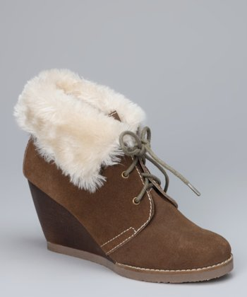 Brown Elissa Faux Fur Wedge Boot
