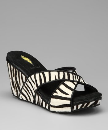 Black & White Zebra Toni Wedge Sandal